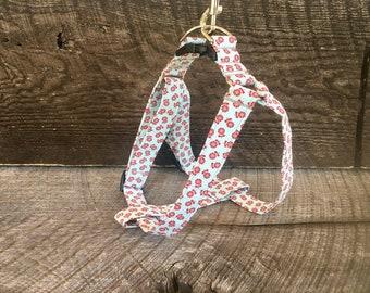 Aqua & Burgundy Floral step in harness
