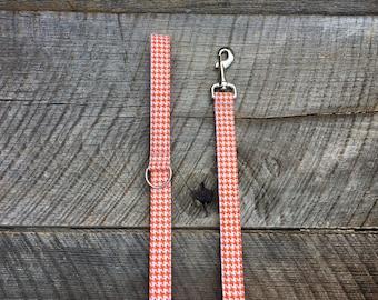 Orange and White Houndstooth Dog Leash