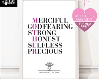 Mother's Day Gift, Mother and Granny framed print, Mother's Day Print,  Proverbs 31 woman Scripture art . Gift for Mum / mom/ Grandma.