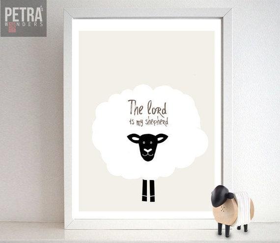 Sheep Nursery Print- Bible verse art- The lord is my shepherd Wall art   Scripture art decor-Nursery/ Children Bedroom/ Playroom art Print