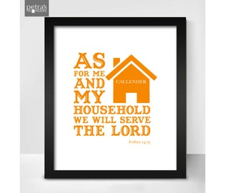 Personalised Home Print with Family Name, Scripture Art Print- Bible verse; AS for me and my house we will serve the lord - joshua 24.15