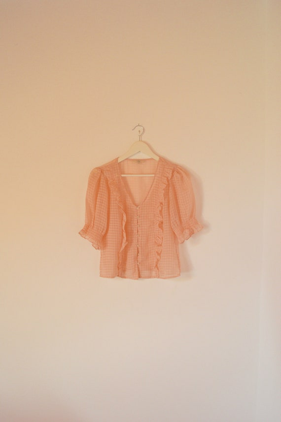 Peach Pink Pastel Rose Puff Sleeve Blouse S