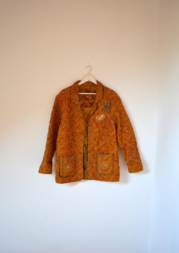 Golden Safran Vintage Indian Silk Quilt Jacket M L