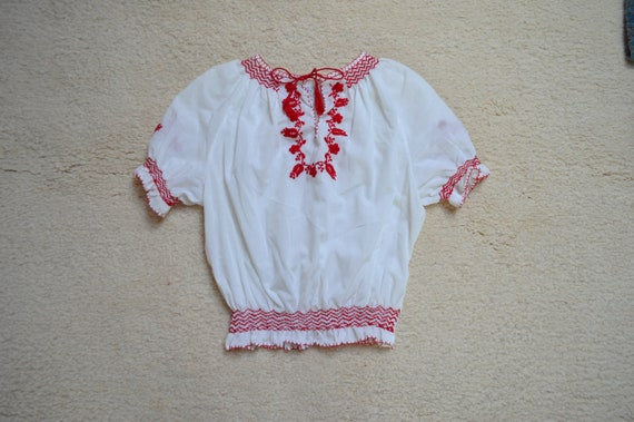 XXS Cropped Hungarian Folk Blouse Smocked Details