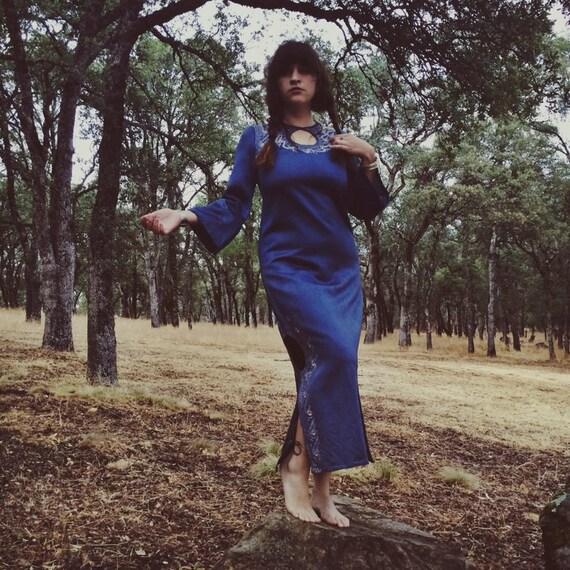 Blue Cheer 1960 Indian Bell Sleeve Dress