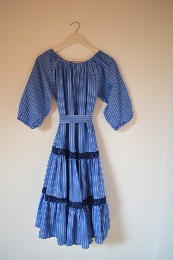 Handmade Blue White Stripe Prairie Cotton Dress M