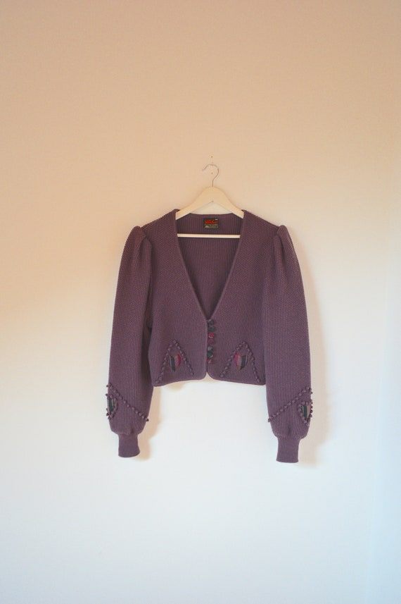 80s Purple Violet Cropped Puff Sleeve Wool Cardiga