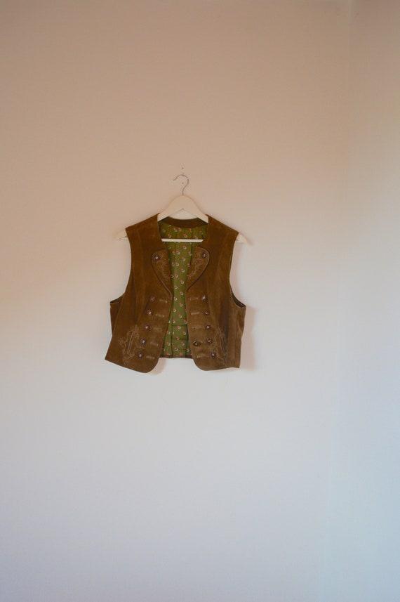 Bavarian Light Brown Suede Leather Vest M