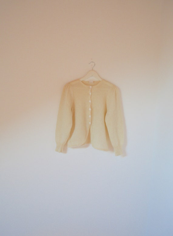50s Cream Cropped Mohair Puff Sleeve Folk Cardigan