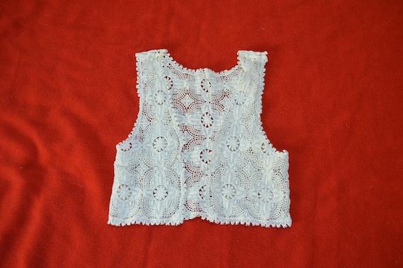 70s Cream Crochet Cotton Vest XS S