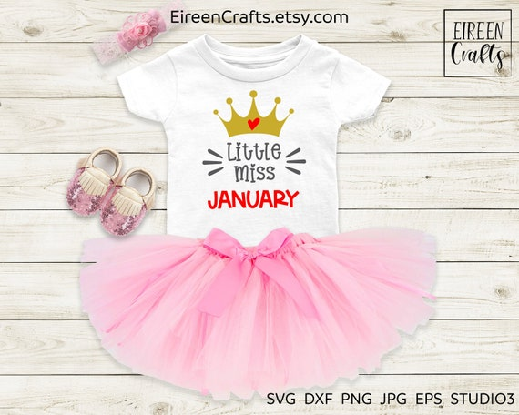 Little Miss January Svg Cut File For Cricut Silhouette Etsy