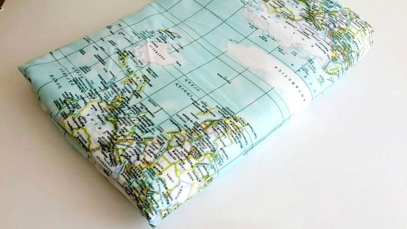 World map fabric home decor fabric sewing maps print craft etsy image 0 gumiabroncs Image collections