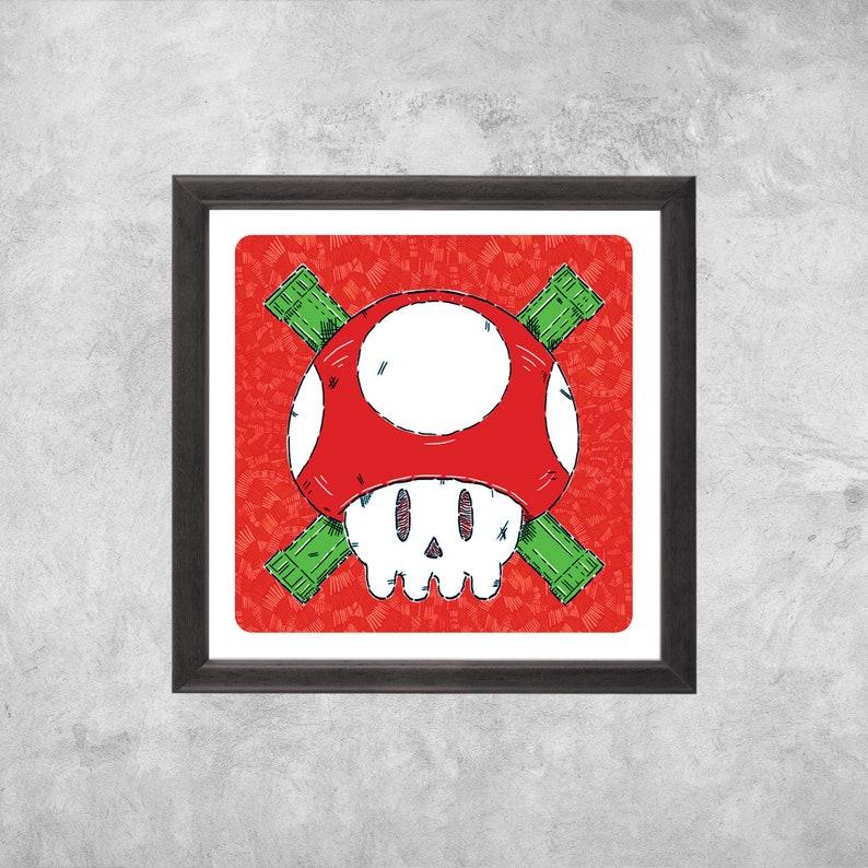 Red Mushroom Jolly Roger  Art Print image 0