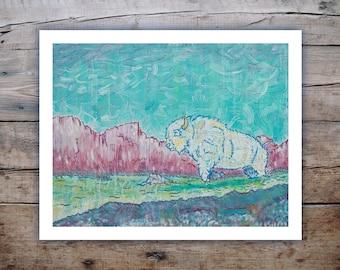 Big Medicine (white bison) - Art Print