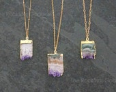 Gold Amethyst Necklace Amethyst Jewelry Amethyst Stalactite Amethyst Pendant Druzy Necklace