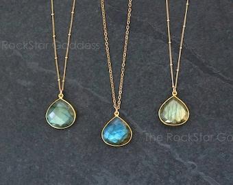 Labradorite Necklace / Gold Labradorite Necklace / Labradorite Jewelry  / Gemstone Necklace