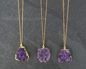 Amethyst Necklace / Amethyst Jewelry / Druzy Necklace / February Birthstone / Raw Crystal Necklace  / Gold Amethyst Druzy