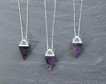 Amethyst Necklace / Amethyst Jewelry / Silver Amethyst Necklace / Gemstone Necklace / Raw Crystal Necklace