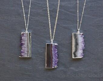 Amethyst Necklace / Raw Amethyst Pendant / Silver Amethyst Necklace / February Birthstone / Gemstone Necklace