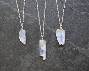 Silver Kyanite Necklace / Raw Kyanite Necklace / Men's Kyanite Necklace / Men's Silver Necklace / Mens Jewelry / Mens Silver Chain