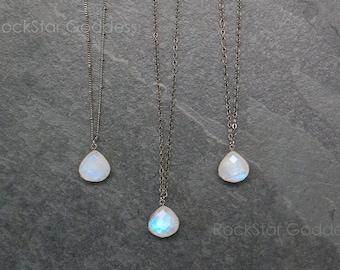 Moonstone Necklace / Moonstone  Jewelry / Moonstone / Gunmetal Moonstone / Moonstone Pendant