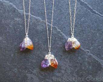 Silver Citrine Necklace / Silver Amethyst Necklace / Raw Crystal Necklace / Raw Amethyst Necklace / Raw Citrine Necklace