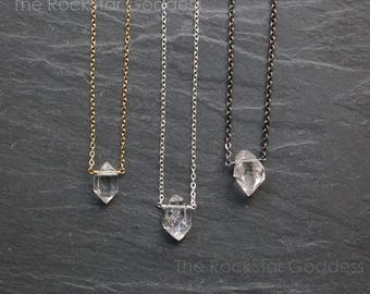Herkimer Diamond Necklace / Herkimer Diamond / Select Diamond / Custom Length Chain / Crystal Necklace / Herkimer Necklace / Herkimer