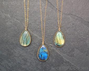 Gold Labradorite Necklace / Labradorite Necklace / Labradorite Pendant / Labradorite Jewelry