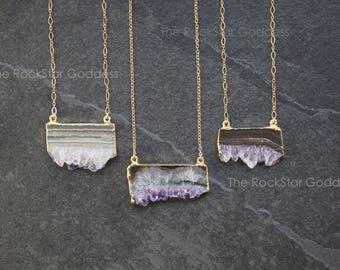 Amethyst Necklace / Amethyst Jewelry / Druzy Necklace / Raw Crystal Necklace / February Birthstone / Boho Jewelry