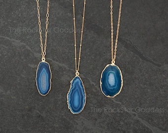 Druzy Necklace   Agate Necklace   Blue Agate Necklace   Crystal Necklace    Agate Jewelry 8e57a606a0b0