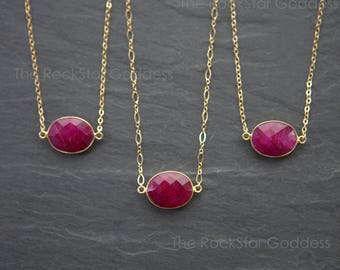 Ruby Necklace / Red Ruby / Ruby Jewelry / July Birthstone / Ruby Pendant / Gold Ruby Necklace  / Gold Ruby