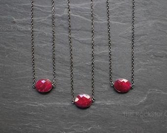 Ruby Necklace / Red Ruby / Ruby Jewelry / July Birthstone / Ruby Pendant / Ruby Gemstone