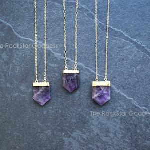 February Birthstone Unique Amethyst Necklace R6-201 Triangle Druzy Necklace
