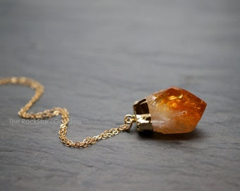 Gold Citrine Necklace / Raw Citrine Necklace / Gold Citrine Crystal Necklace / Raw Crystal Necklace / November Birthstone