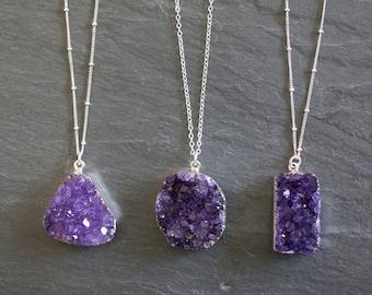 Amethyst Necklace / Amethyst Jewelry / Druzy Necklace  / February Birthstone / Gemstone Necklace / Raw Crystal Necklace