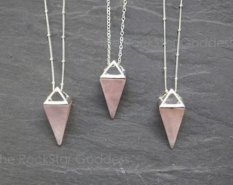 Silver Rose Quartz Necklace/ Rose Quartz Necklace / Rose Quartz Pendant / Silver Rose Quartz Pendant
