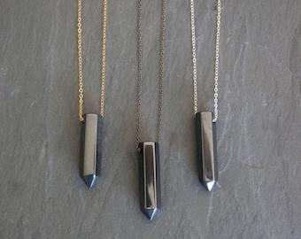Hematite Jewelry / Hematite Pendant / Hematite Necklace / Hematite / Gemstone Pendant / Silver Hematite Necklace / Gold Hematite Necklace