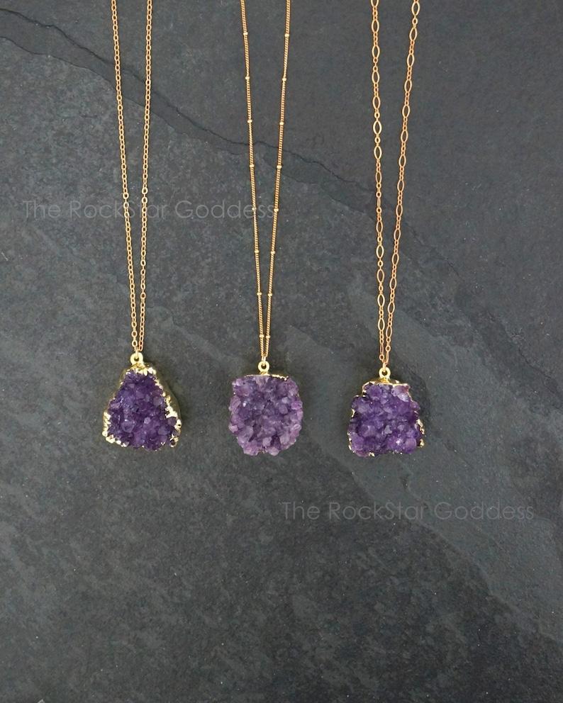 Amethyst Necklace / Amethyst Jewelry / Druzy Necklace / image 0