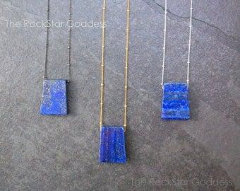 Lapis Lazuli Necklace / Blue Lapis Jewelry / Lapis Necklace / Lapis Pendant / Lapis Jewelry / Satellite Chain