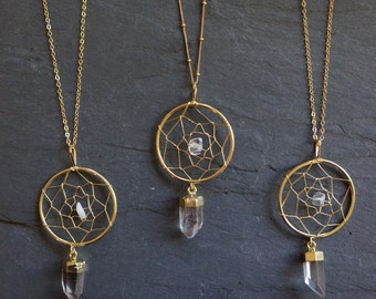 Dream Catcher Necklace / Quartz Necklace / Boho Necklace / Gold Quartz Necklace / Crystal Necklace / Gold Quartz Pendant