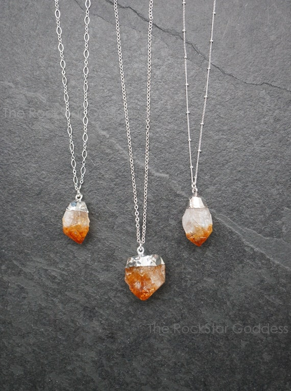 Healing Crystal Necklace Citrine Necklace Raw Gemstone Necklace Raw Crystal Necklace Raw Citrine Necklace November Birthstone