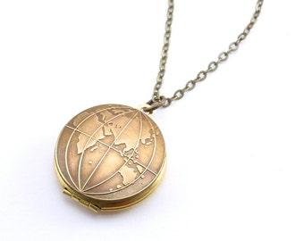 Globe necklace etsy old world globe locket wanderlust locket necklace globe necklace east west or double sided you choose aloadofball Choice Image