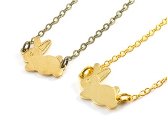 Easter Gift, Gold Bunny Rabbit Necklace, Small Bunny Charm Necklace, Tiny Rabbit Charm Pendant, Choose Antiqued Brass or Gold Plate