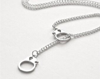Silver Handcuff Necklace, Lariat Hand Cuff Necklace