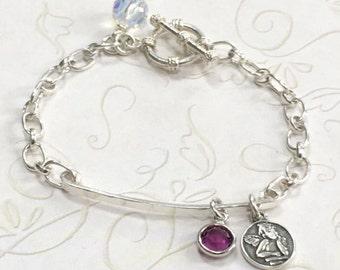 Sterling Silver Bar & Chain Charm Bracelet