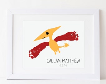 Dinosaur Art, Footprint Pterodactyl Print, Boys Room Decor, Personalized with Your Child's Acutal Feet, 8x10 or 11x14 inches UNFRAMED