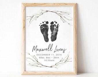 Rustic Nursery Decor, Lumberjack, Outdoor  Boho Watercolor Branch Wall Art, Personalized Baby Footprints, Your Child's Feet 8x10 in UNFRAMED