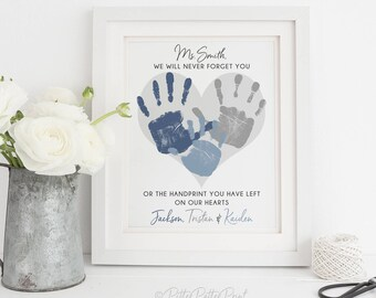 Babysitter gift etsy daycare gift nanny gift teacher gift babysitter gift personalized handprint heart art your childs hand prints 8x10 or 11x14 unframed negle Image collections