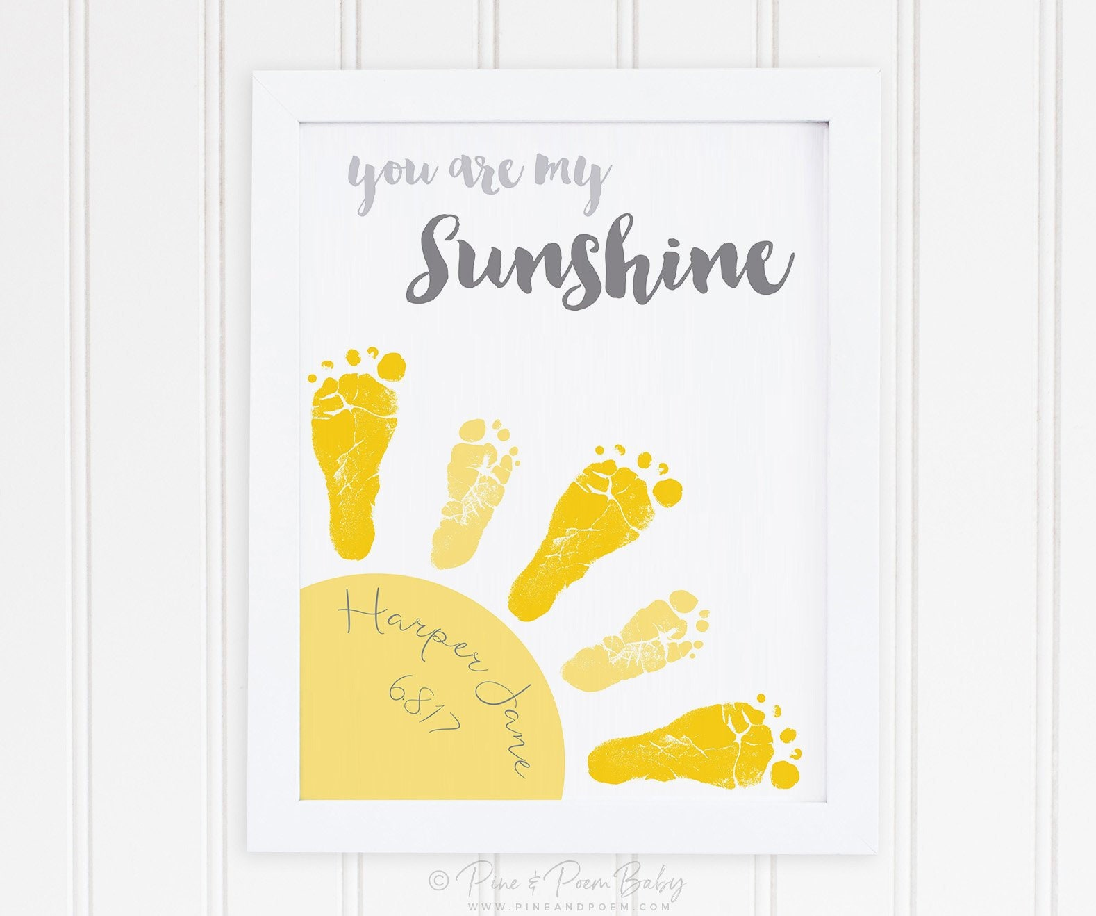 You Are My Sunshine Baby Footprint Art Print Gray & Yellow | Etsy