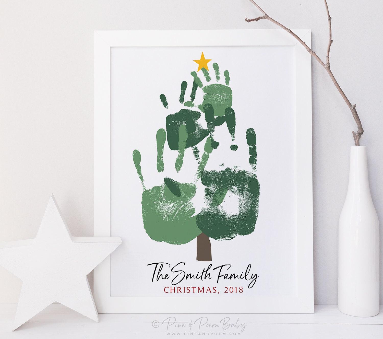 Handprint Christmas Tree Family Portrait Art
